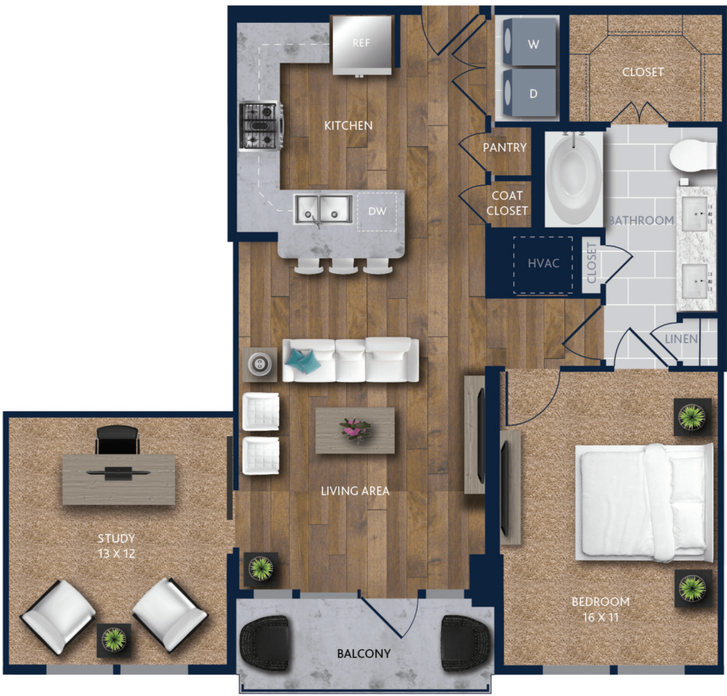1 bedroom with study citycentre apartments